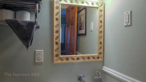 image: bathroom mirror with flowered border