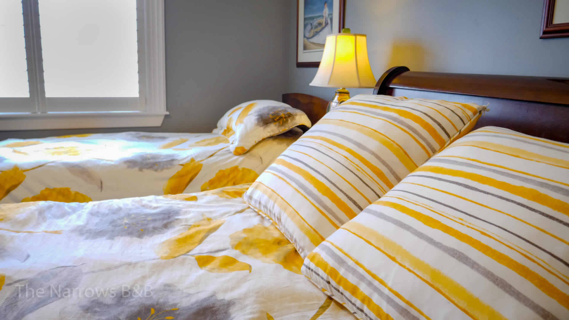 image: beds with striped pillows